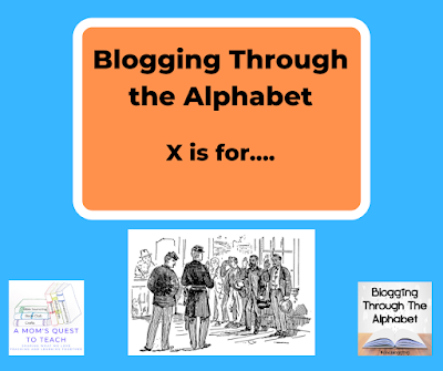 A Mom's Quest to Teach logo; Blogging Through the Alphabet logo; Men's mustering up clipart from wpclipart.com