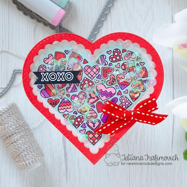 Heart Shaped Shaker card by Tatiana Trafimovich | Heartfelt Love Stamp set and Heart Frames Die Set by Newton's Nook Designs