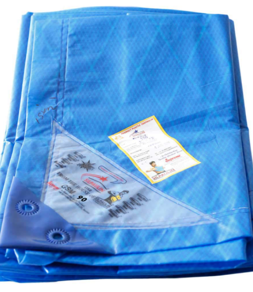 Supreme 90 GSM Waterproof, Heat Sealed, UV Stabilized Stripes Sheet Virgin Tarpaulin, 12 X 9 ft , Blue with White