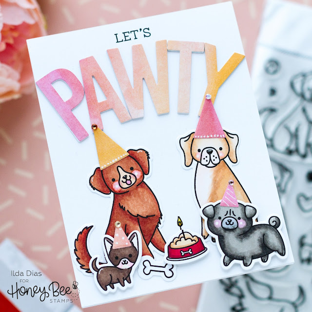 Let's Pawty, Birthday Card,Honey Bee Stamps, Summer Stems, Sneak Peek, Puppy Tails stamps,punny sentiments,Card Making, Stamping, Die Cutting, handmade card, ilovedoingallthingscrafty, Stamps, how to,