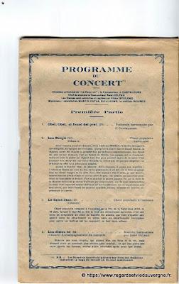 La Bourrée du Massif Central, programme 1938, concert