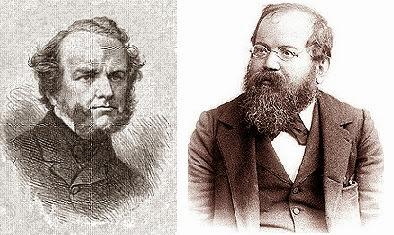 Los ajedrecistas Howard Staunton y Wilhelm Steinitz