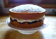 coffee, almond & blackcurrant cake
