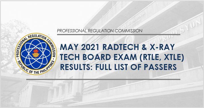 May 2021 Radtech, X-Ray Tech board exam list of passers