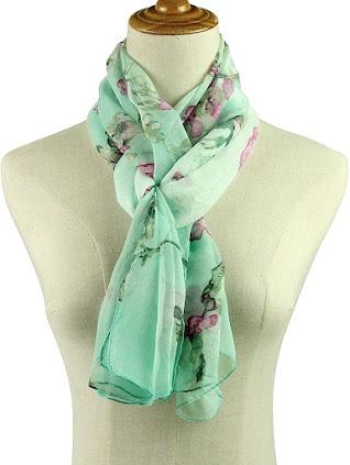 Floral Print Green Chiffon Scarf