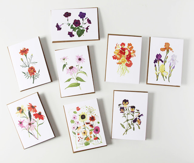 botanical watercolors, notecards, greeting cards, floral watercolor, floral notecards, Anne Butera, My Giant Strawberry