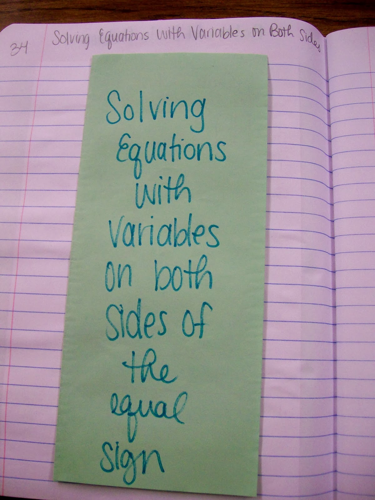 math love algebra 1 inb pages solving equations solving equations variables on both sides of the equal sign outside of foldable