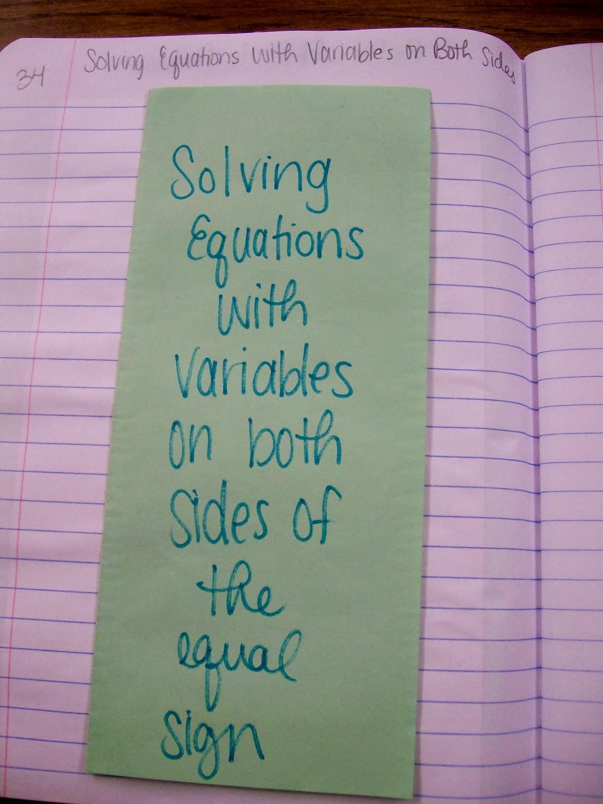 Math Love Algebra 1 Inb Pages Solving Equations
