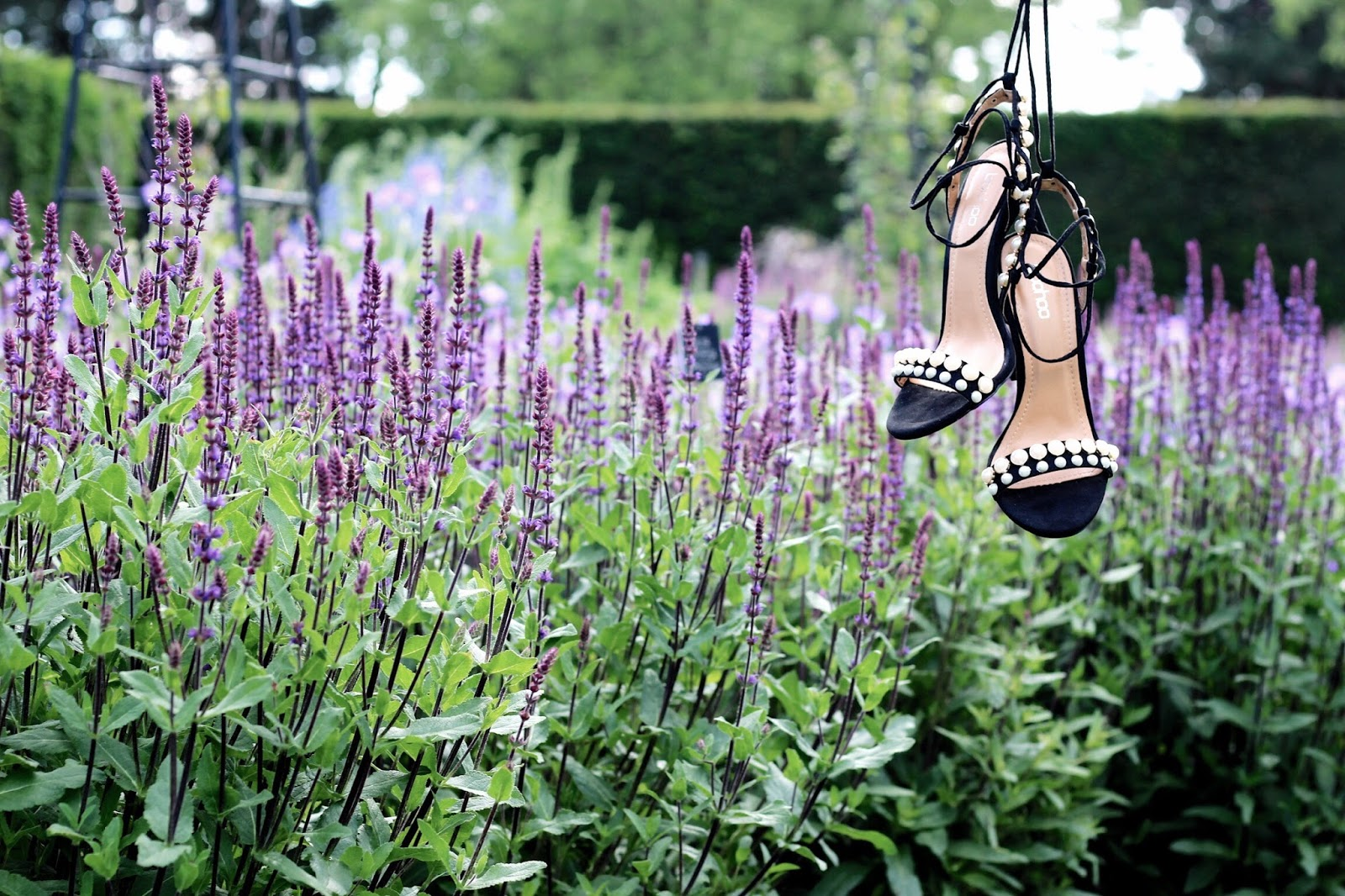 Stilettos hanging over flowers in nature
