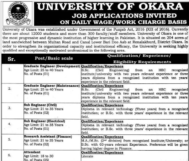 University of Okara Jobs Male and Female jobs 2020