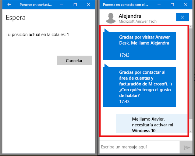 Chat de Microsoft Answer Tech.