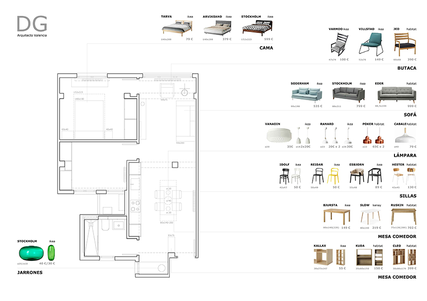 Interiorismo para apartamento en russafa valencia dg - Estudio interiorismo valencia ...
