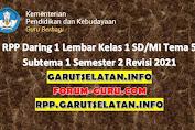 RPP Daring 1 Lembar Kelas 1 SD/MI Tema 5 Subtema 1 Semester 2 Revisi 2021