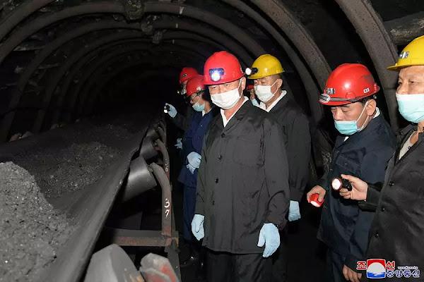 Premier Kim Dok Hun at coal mining sites in October