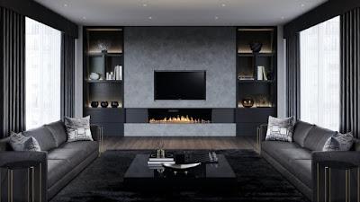 Desain ruang tamu abu-abu