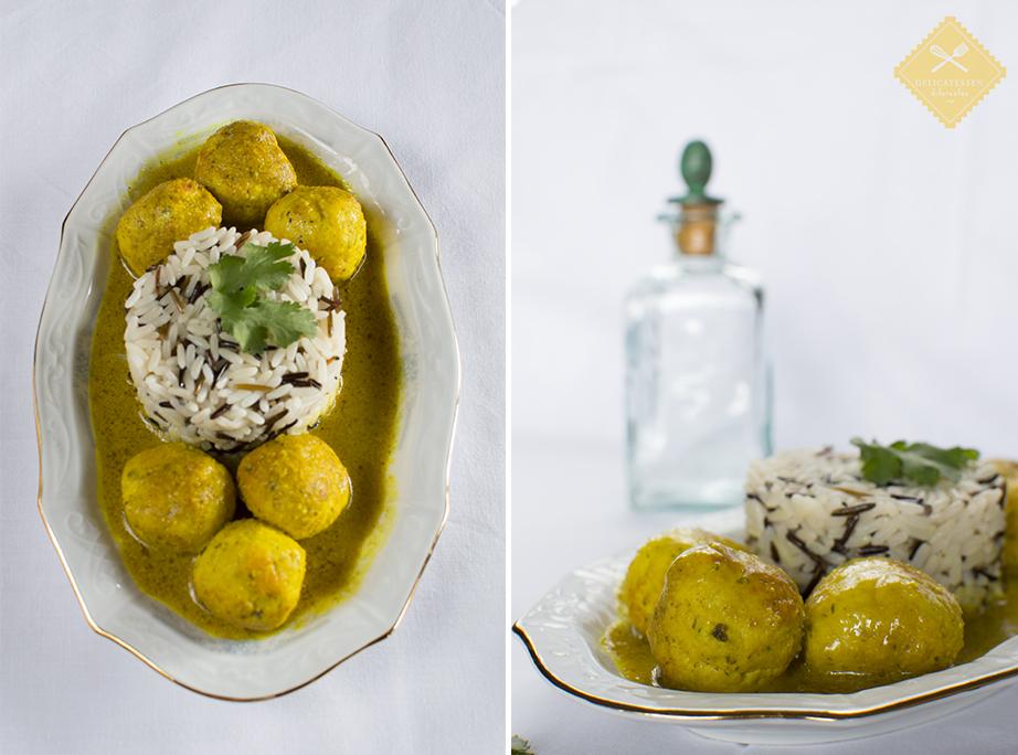 albóndigas salsa de almendra y curry