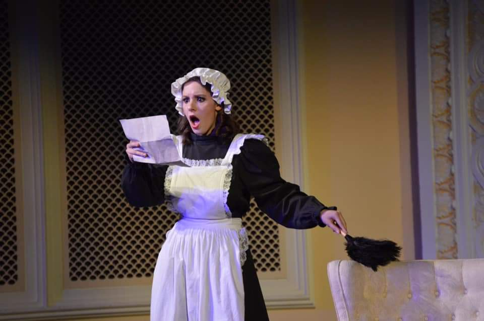 IN REVIEW: soprano CLAIRE GRIFFIN as Adele in UNCG Opera Theatre's October 2019 production of Johann Strauss II's DIE FLEDERMAUS [Photograph © by Amber-Rose Romero, Tamara Beliy, & UNCG Opera Theatre]