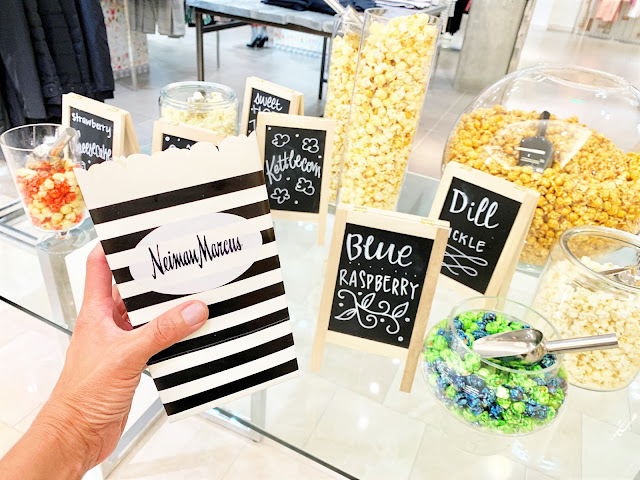 Popcorn display in Neiman Marcus at Bravern Fashion Week