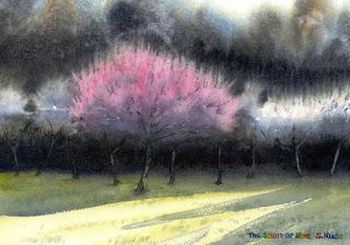 水彩画 「梅の香り」