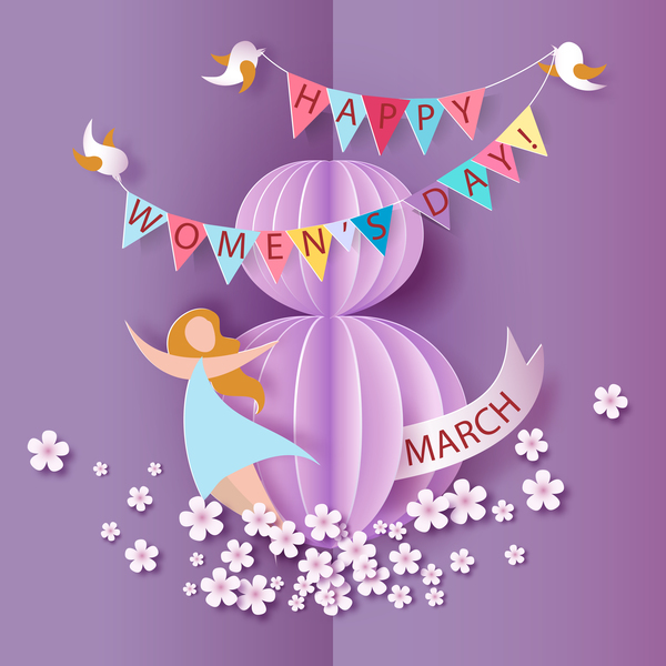 woman day 8 March women's day cards elegant vector
