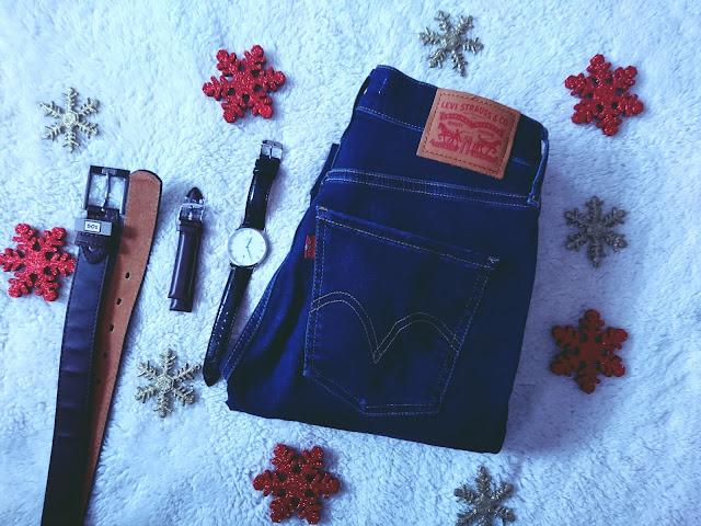 jeansy levis, zegarek daniel wellington, pasek levis