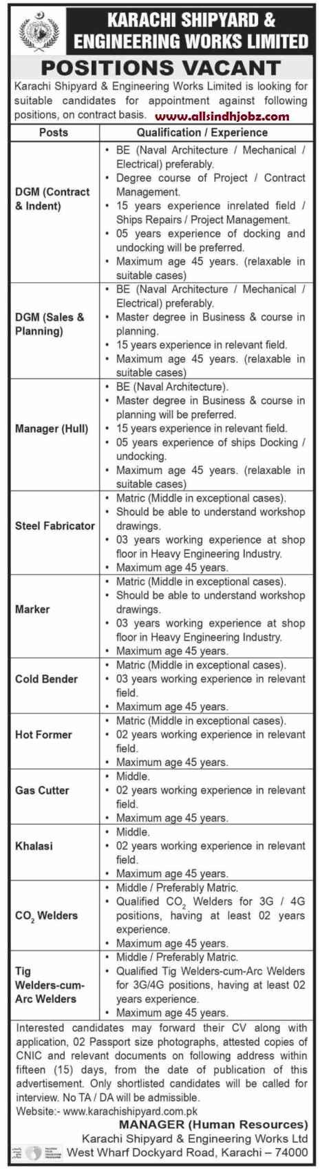 Karachi Shipyard & Engineering Works KS&EW Jobs 2020 | Multiple Jobs