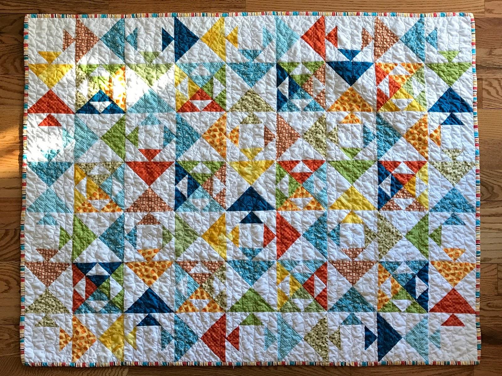 art fiber fish collage web quilt crop blue for