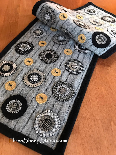 Black Licorice table runner by Rose Clay at ThreeSheepStudio.com