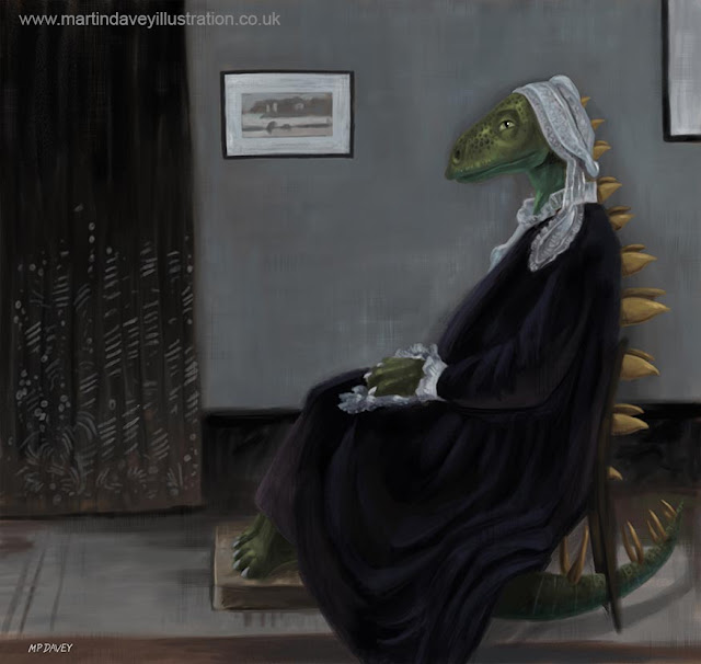 M P Davey Whistler dinosaur parody illustration