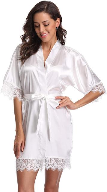 White Silky Satin Bridal Robes For Bride or Bridesmaids