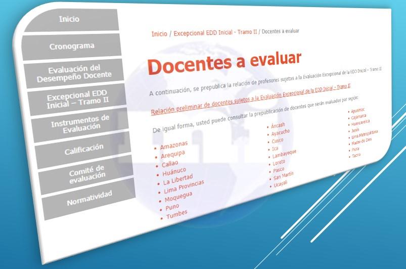 Relación de docentes para Evaluacion de Desempeño Docente Inicial Tramo II 2019