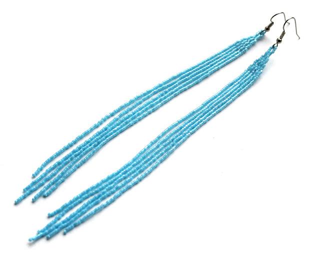 купить серьги к голубому платью однотонные голубые сережки из бисера