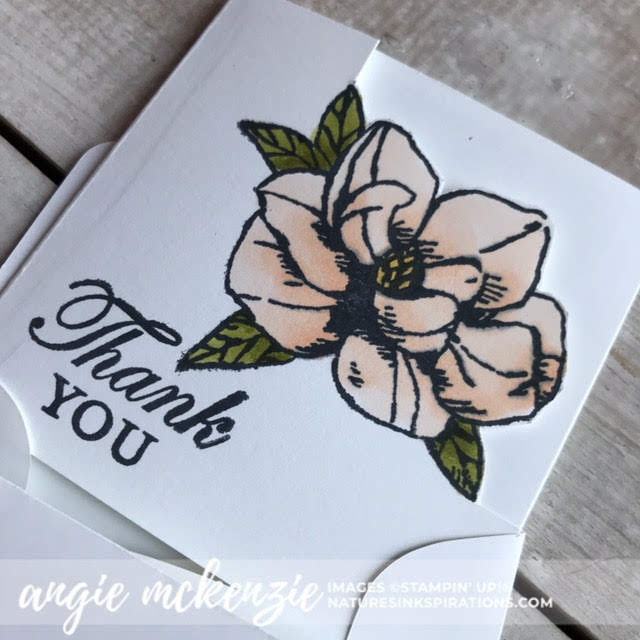 Mini Magnolia Blooms for Kylie's Demonstrator Training Blog Hop - July 2019 | 3x3 Magnolia Bloom thank you card | Nature's INKspirations by Angie McKenzie