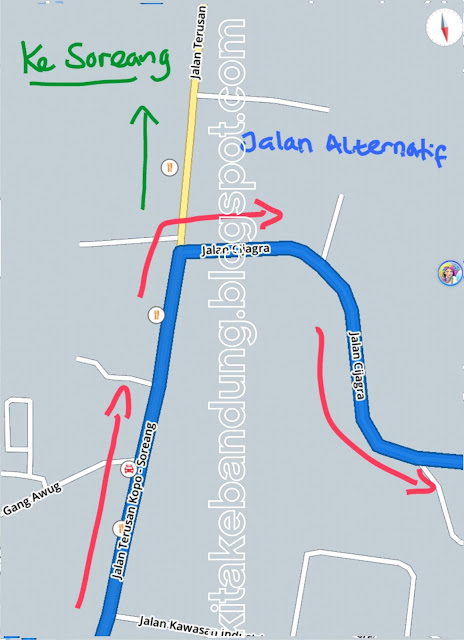 Peta rute jalan dari Bandung ke Stadion Si Jalak Harupat Soreang dari terminal leuwi panjang lewat perempatan cibaduyut jalan soekarno hatta patung sepatu