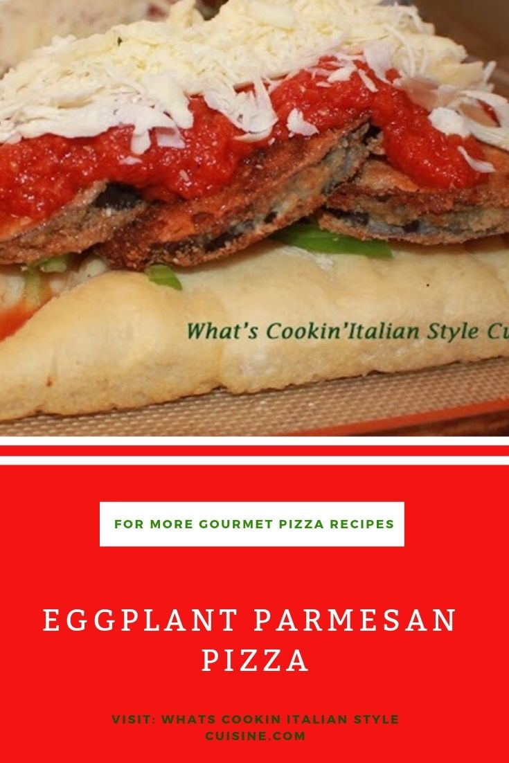 this is eggplant parmesan pizza pin it for later