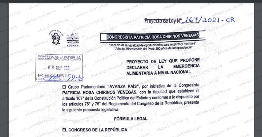 PROYECTO DE LEY N° 00167/2021-CR.- Ley que propone declarar la emergencia alimentaria a nivel nacional (.PDF) www.congreso.gob.pe