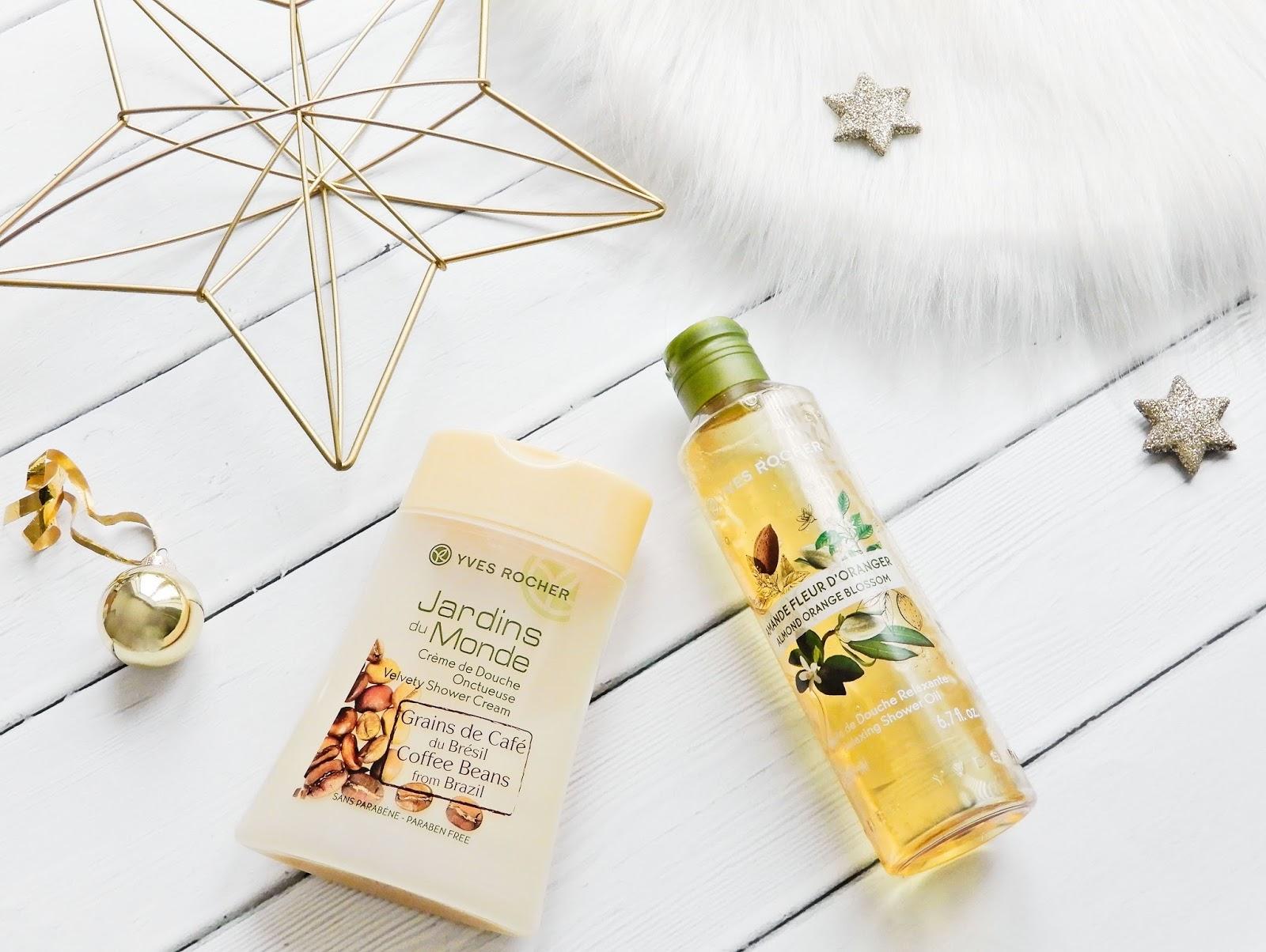 Yves Rocher Relaksujący olejek pod prysznic migdał i kwiat pomarańczy, Yves Rocher Kremowy żel pod prysznic o zapachu ziaren kawy z Brazylii,