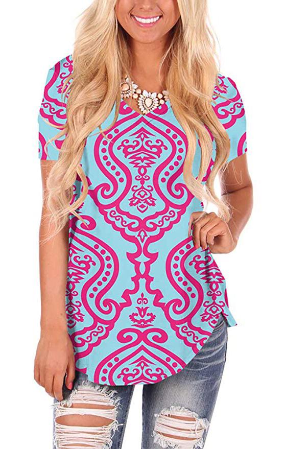 WFTBDREAM Womens Casual Curved Hem Long Sleeve T Shirt V Neck Side Slit Blouse  - floral Totem