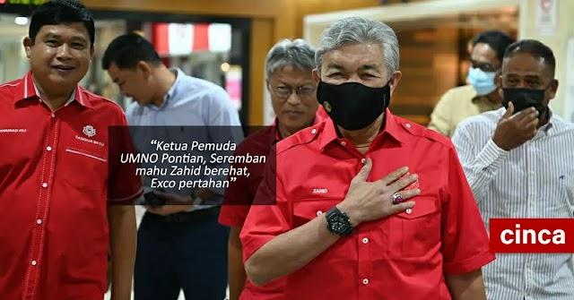 Ketua Pemuda UMNO Pontian, Seremban mahu Zahid berehat, Exco pertahan