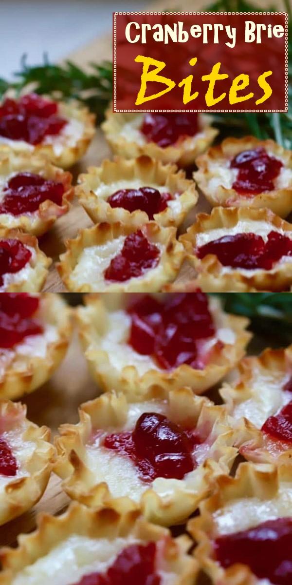 3-Ingredient Easy Cranberry Brie Bites Recipe #appetizerrecipes