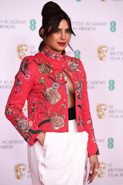 Actress Priyanka Chopra Latest Photos at British Academy Film Awards in London Navel Queens