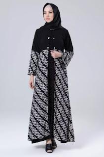 Gamis-Batik-Kombinasi-Blazer-Panjang