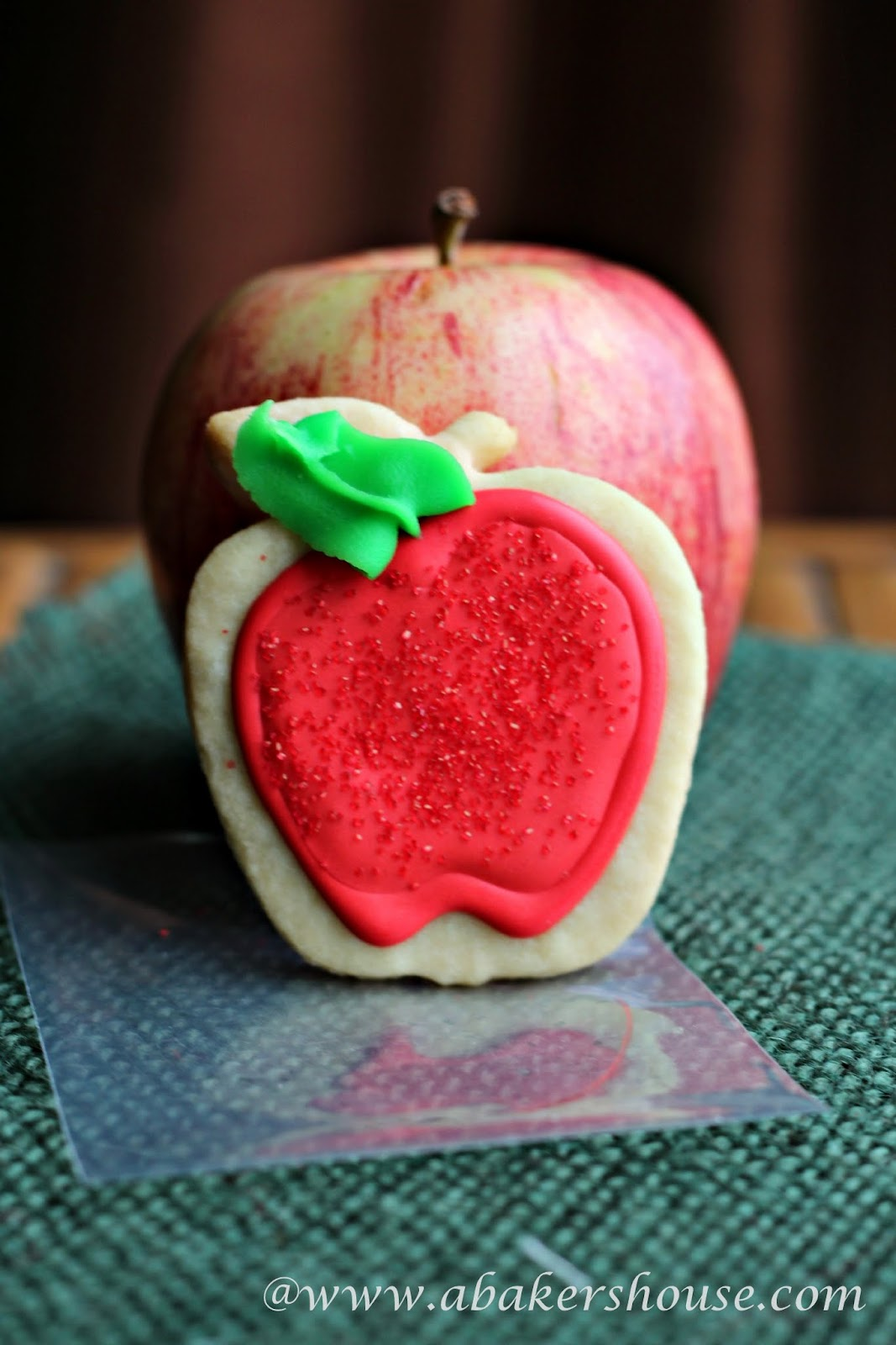 Apple Cookies for Teacher Appreciation sugar cookies with royal icing