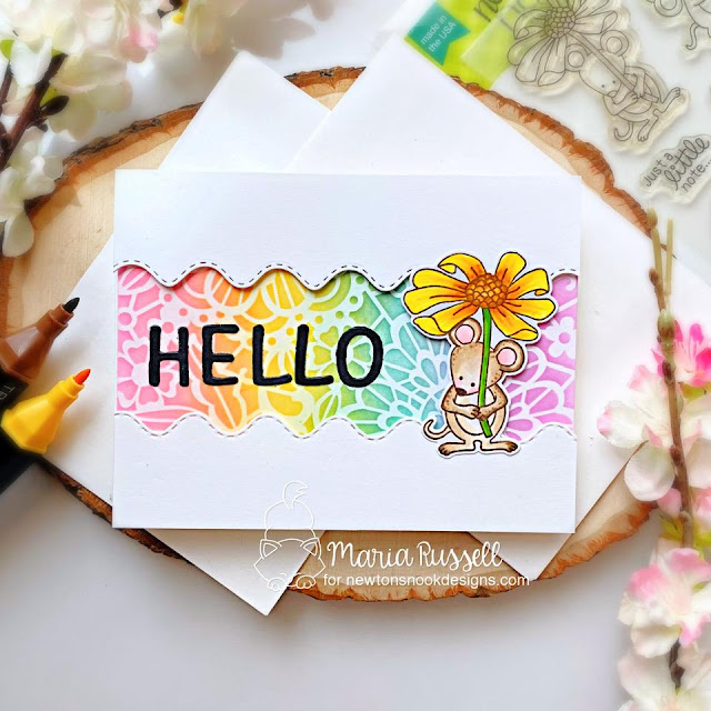 Little Mouse Hello Card by Maria Russell   Garden Mice Stamp Set, Sea Borders and Essential Alphabet Die Set and Floral Lace Stencil by Newton's Nook Designs #newtonsnook #handmade