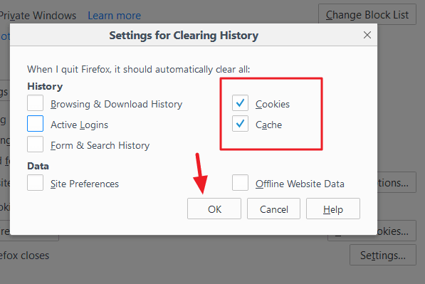 clear cache cookies when firefox closes