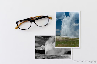 Cramer Imaging's collage of different takes on Old Faithful in Yellowstone National Park Wyoming with glasses