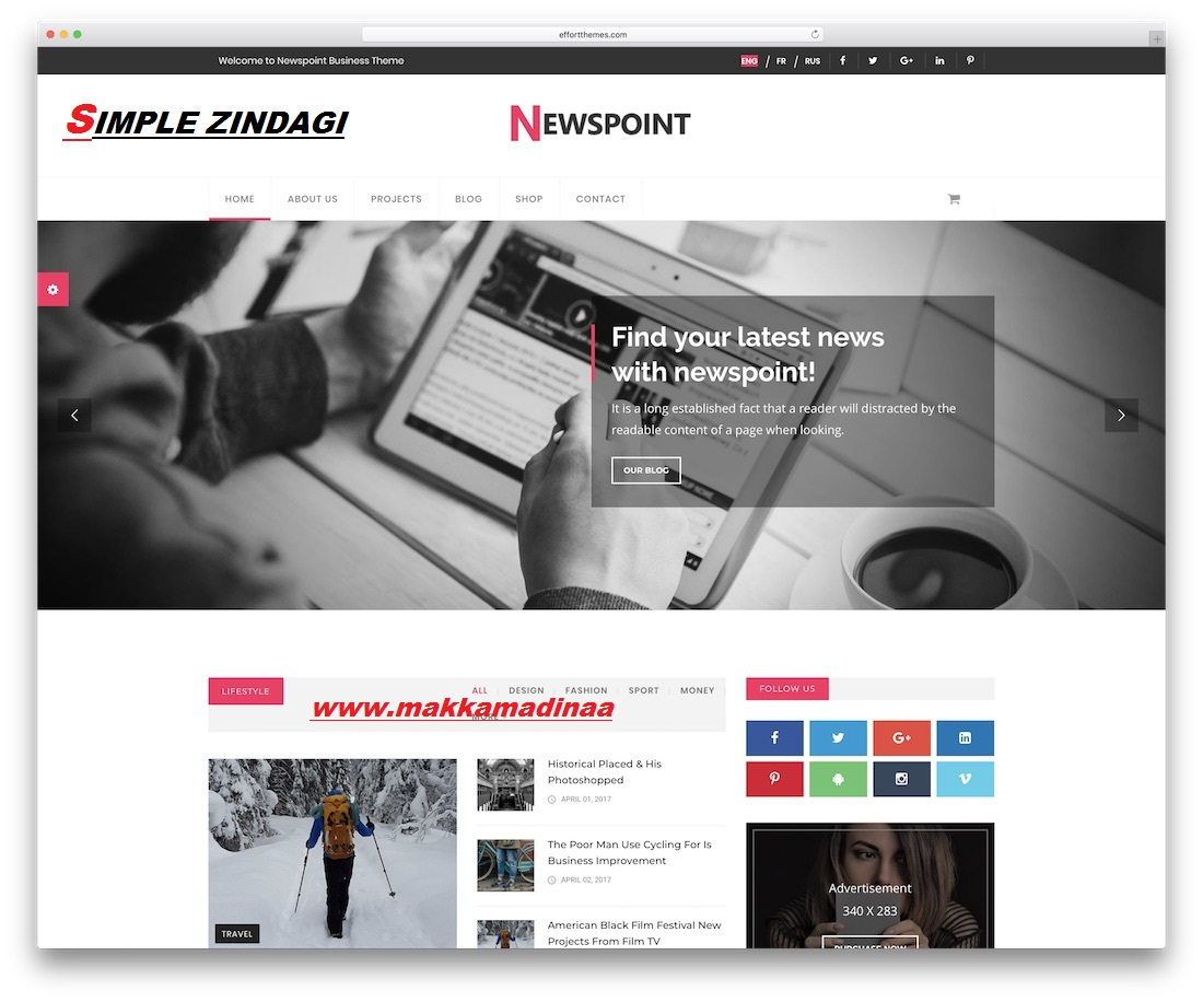 Newspoint Business Theme Template Blog Responsive Html5 Css3 Bootstrap 4 Online $14 Pay