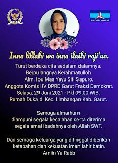 Innalillahi Wainnailaihi Rojiun, Anggota DPRD Garut, Mas Yayu Siti Sapuro Meninggal