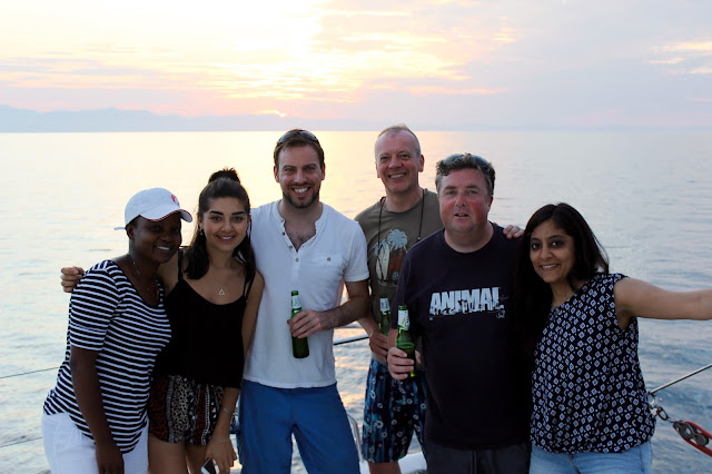 The press group bidding a fond farewell to Malawi, on-board Mufasa - Danforth Yachting