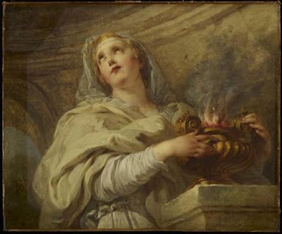 'Una vergine vestale che tende al fuoco' di François Lemoyne.